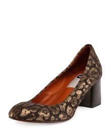 Metallic Spotted Leopard Pump, Silver