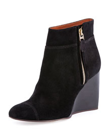 Topstitched Suede Wedge Bootie