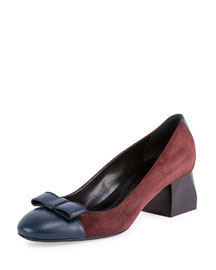 Suede Cap-Toe Block Heel Pump