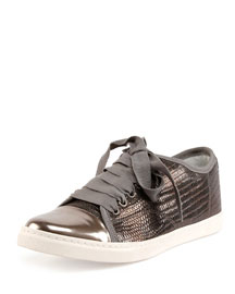 Lizard-Embossed Low-Top Sneaker, Gunmetal