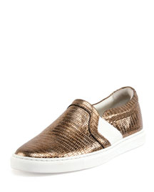 Lizard-Embossed Metallic Slip-On Sneaker