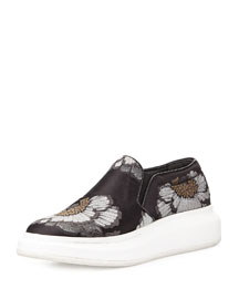 Floral Print Skate Sneaker, Black/Silver