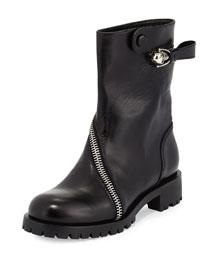 Skull Zip-Around Leather Mid-Calf Boot