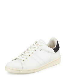 Bart Two-Tone Leather Low-Top Sneaker, White