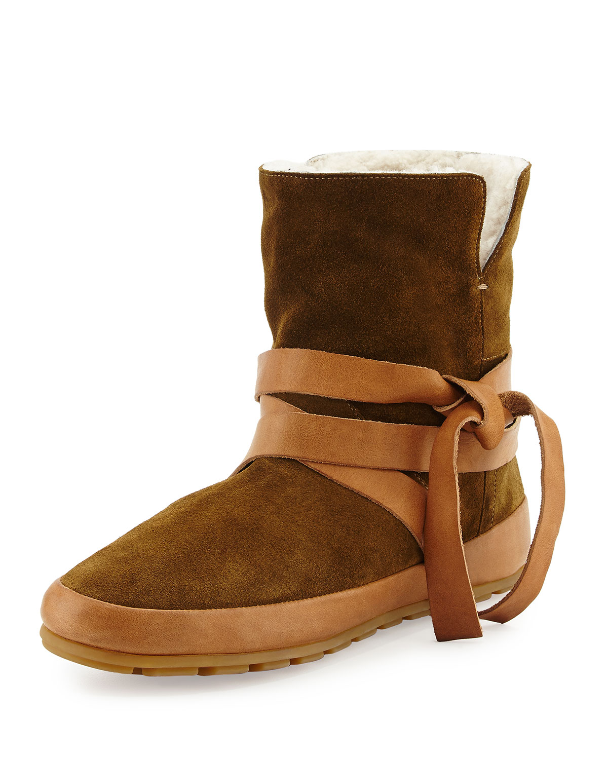 Isabel Marant Nygel Shearling Fur-Lined Wrap-Around Bootie, Brown