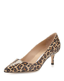 Patent Leopard-Print Point-Toe Pump