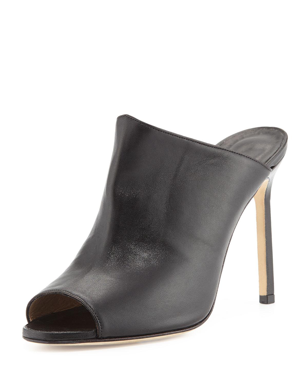 Manolo Blahnik Kando Leather Peep-Toe Mule, Women's, Size: 34.5B/4.5B, Black