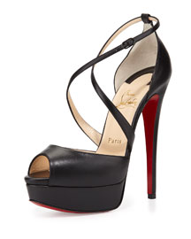 Cross Me Platform Red Sole Sandal, Black