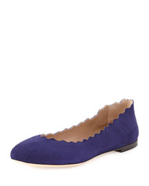 Scalloped Suede Ballerina Flat, Storm Blue