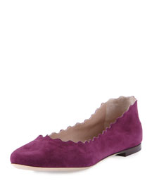 Scalloped Suede Ballerina Flat, Ultra Violet
