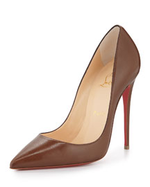 So Kate Point-Toe Red Sole Pump, Blush #5