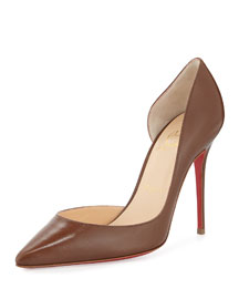 Iriza Half d'Orsay Leather Red Sole Pump, Blush #5