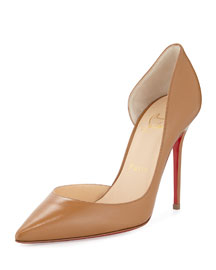 Iriza Half d'Orsay Leather Red Sole Pump, Blush #3