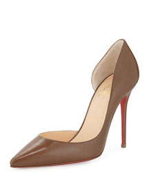 Iriza Half d'Orsay Leather Red Sole Pump, Blush #4