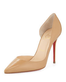 Iriza Half d'Orsay Leather Red Sole Pump, Blush #2