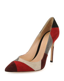 Patchwork Suede Point-Toe Pump