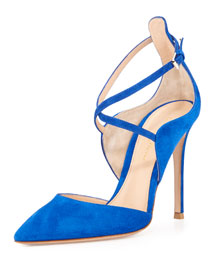 Crisscross Suede Point-Toe Pump