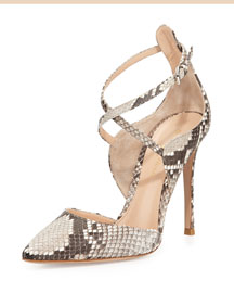 Crisscross Python Point-Toe Pump
