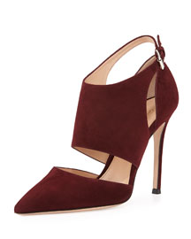 Cutout Ankle-Wrap Point-Toe Pump