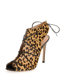 Open-Toe Calf-Hair Bootie, Leopard