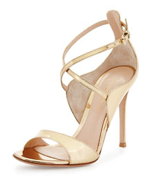Crisscross Ankle-Wrap Metallic Sandal