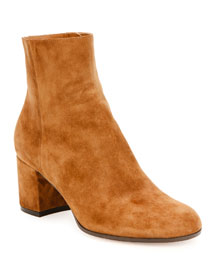 Suede Block-Heel Ankle Boot