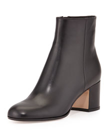 Vitello Leather Block Heel Ankle Boot