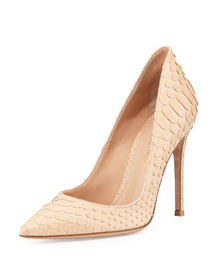 Python Pointed-Toe Pump, Nude