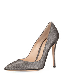 Crackled Metallic Leather Point-Toe Pump, Silver Palladium