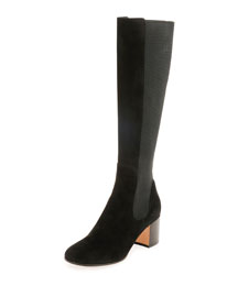 Suede Block-Heel Knee Boot