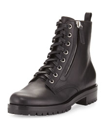 Leather Zip Combat Boot