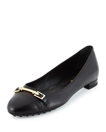 Horsebit Leather Ballerina Flat, Black