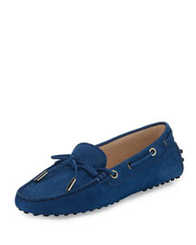 Grained Nubuck Leather Laced Loafer, Navy