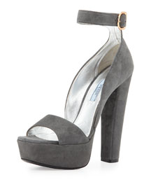 Ankle-Wrap Suede Platform Sandal
