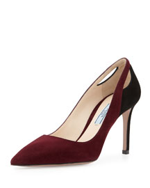 Bicolor Suede Cutout Point-Toe Pump