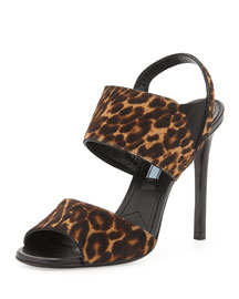 Double-Band Leopard-Print Calf Hair Slingback Sandal