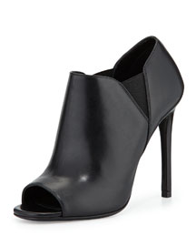 Open-Toe Leather High-Heel Bootie, Nero