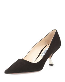 Suede Comma-Heel Point-Toe Pump