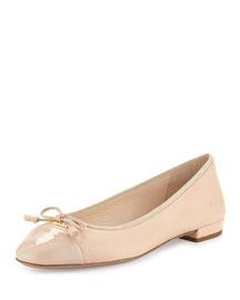 Patent Cap-Toe Ballerina Flat