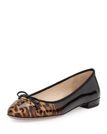 Leopard-Print Ombre Patent Cap-Toe Ballerina Flat