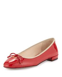 Patent Cap-Toe Ballerina Flat, Red