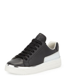 Lace-Up Contrast Leather Sneaker