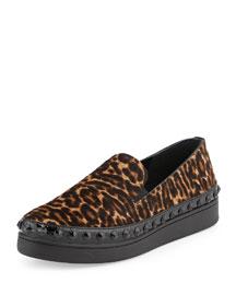 Leopard-Print Calf-Hair Skate Sneaker