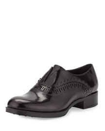 Perforated Trimmed Leather Loafer