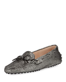 Glittered Leather Laced Loafer, Dark Silver
