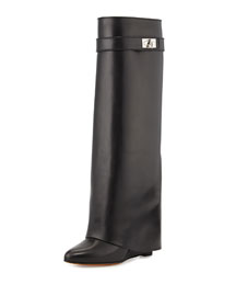 Shark Lock Fold-Over Knee Boot, Black