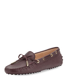 Stamped Leather Laced Loafer, Wine