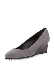 Suede Demi-Wedge Pump, Gray