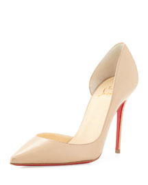 Iriza Half d'Orsay Leather Red Sole Pump, Nude