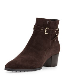 Studded Ankle-Wrap Suede Bootie